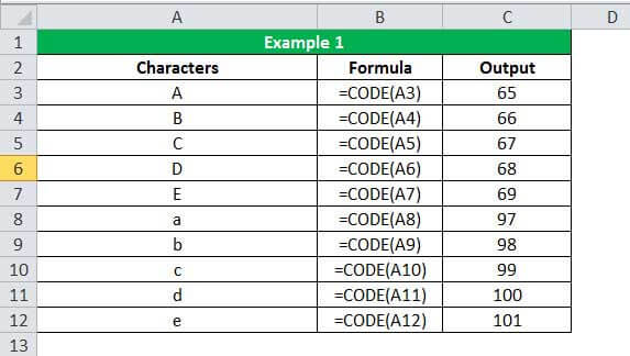 CODE Function Example 1