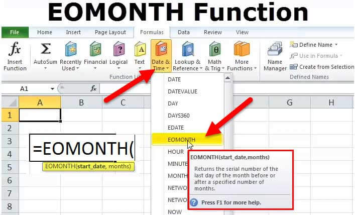 EOMONTH Function in Excel