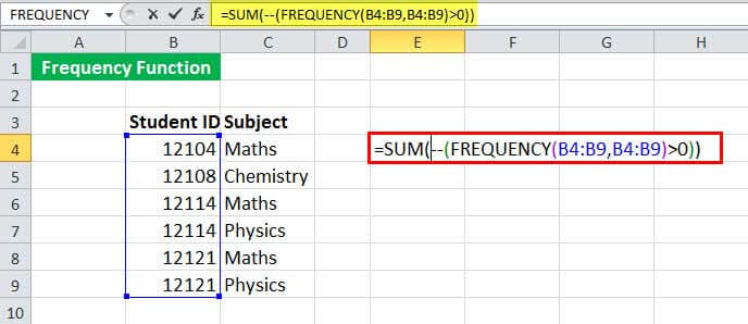 FREQUENCy Function Example 2-1