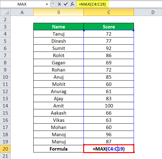 MAX Function in Excel - Example 1