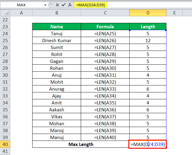 MAX Function in Excel - Example 4