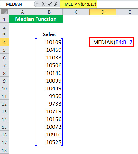 MEDIAN Function Example 1-1