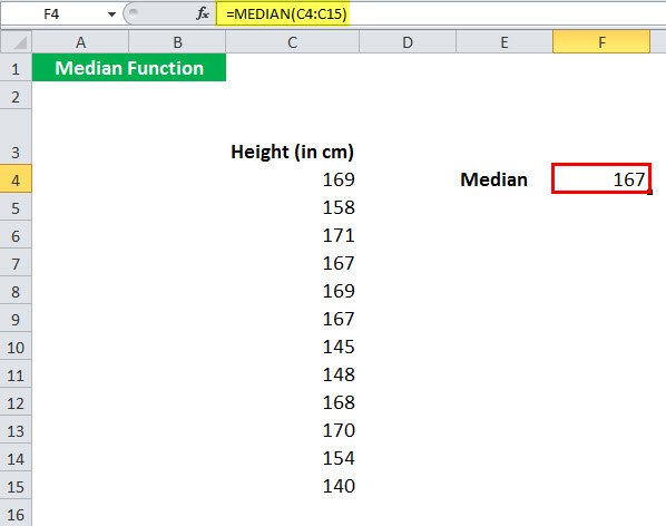 MEDIAN Function Example 2-2