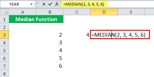 MEDIAN Function illustration 1-3