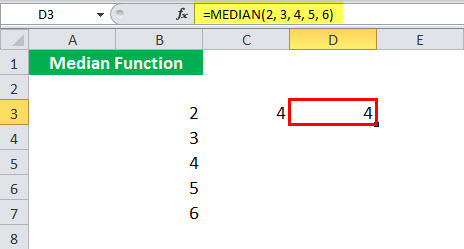 MEDIAN Function illustration 1-4
