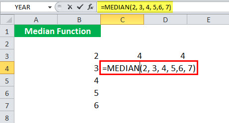 MEDIAN Function illustration 1-5