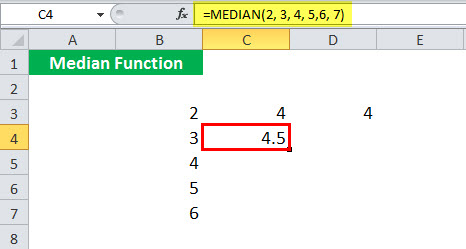 MEDIAN Function illustration 1-6