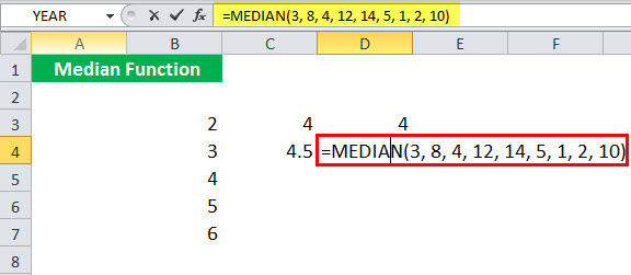 MEDIAN Function illustration 1-7