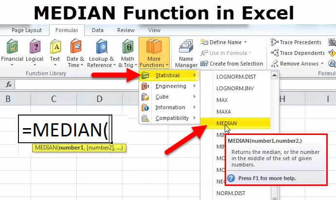 MEDIAN in Excel (Formula, Example) | How to use MEDIAN Function?
