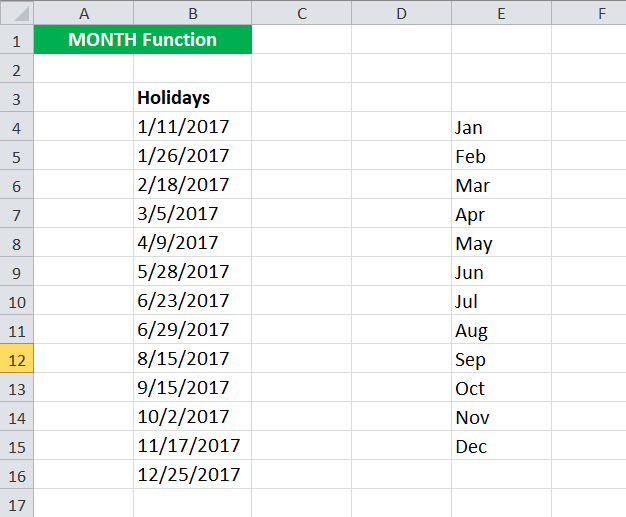 MONTH Example 3