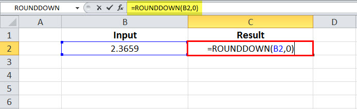 ROUNDDOWN Example 1-1