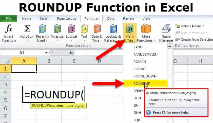 how to use excel roundup function   formula with examples