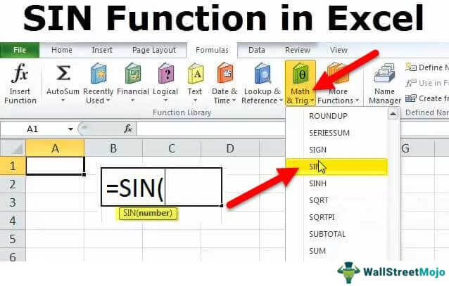 SIN in Excel (Formula, Examples) | How to Use Sin Function