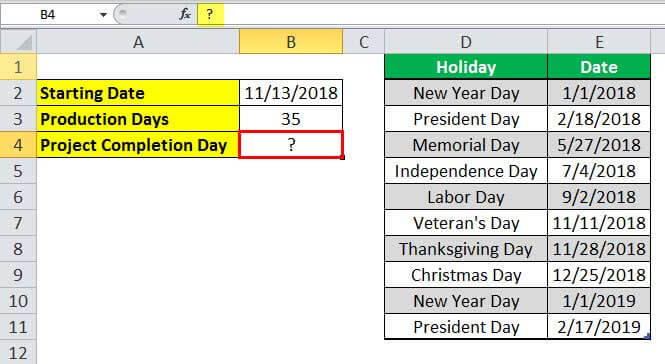 WORKDAY in Excel (Formula, Example) | How to use Workday ...