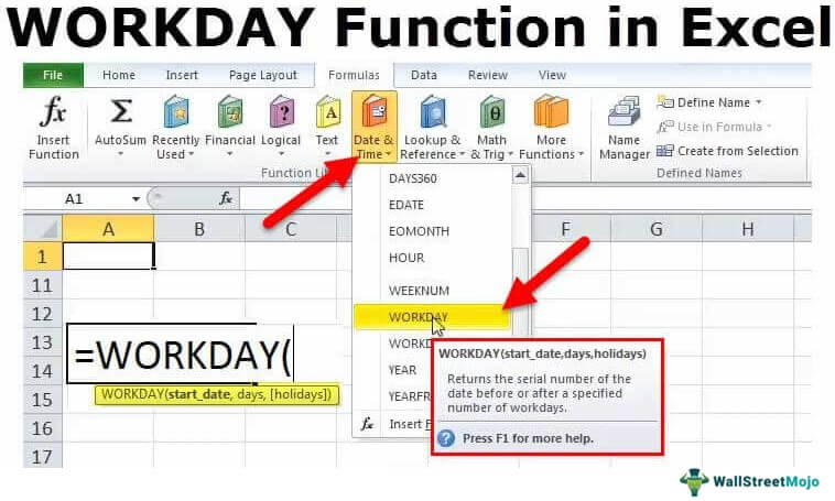 WORKDAY in Excel (Formula, Example) | How to use Workday Function?
