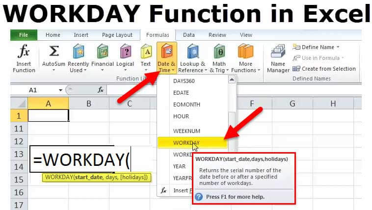 WORKDAY Function in Excel