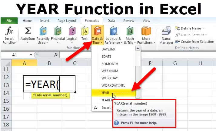 YEAR Function in Excel