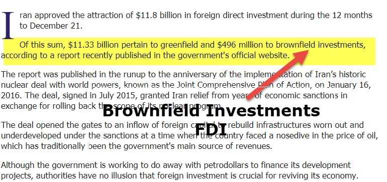 Brownfield Investment FDI