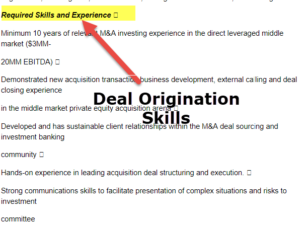 Deal Origination Skills