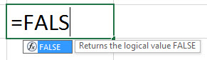 FALSE Formula in excel