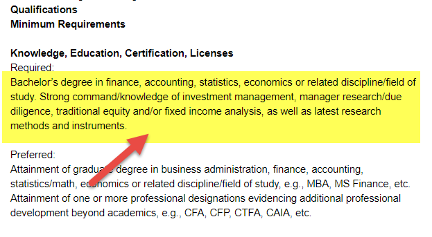 Hedge Fund Job Education qualification