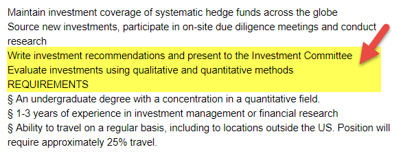 Hedge Fund Job - Investment Analyst