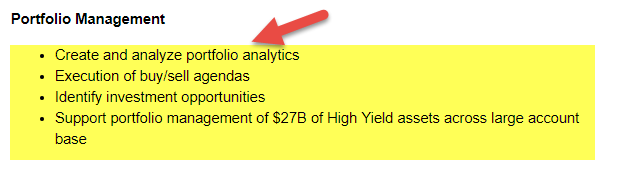 Hedge Fund Job - Portfolio Management