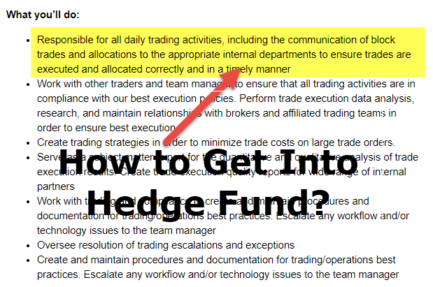 How to get into Hedge Fund