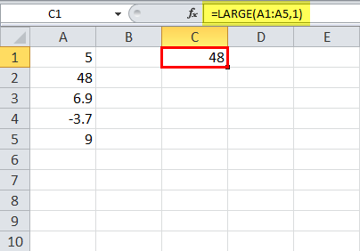 LARGE Function in Excel Example 1