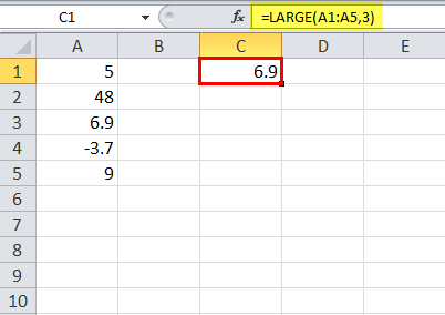 LARGE Function in Excel Example 3