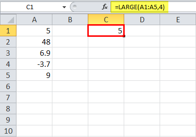 LARGE Function in Excel Example 4