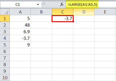 LARGE Function in Excel Example 5