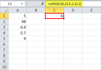 LARGE Function in Excel Example 6