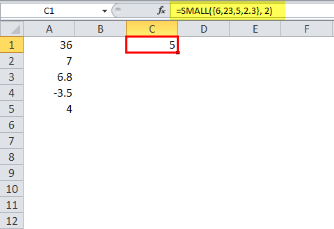 SMALL Function Example - 6