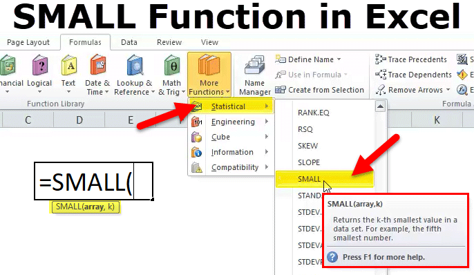small in excel formula example how to use small function