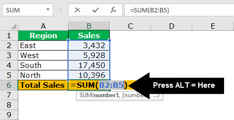 TOP 20 excel shortcuts - Auto Sum 1