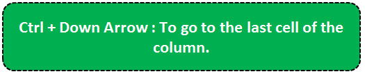 TOP 20 excel shortcuts - To go to last cell of the Row or Column