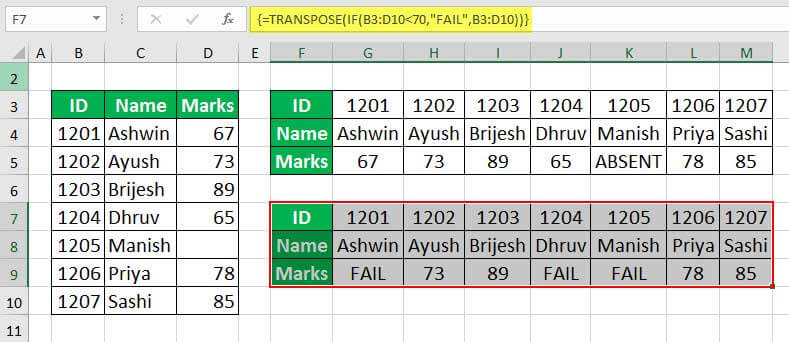 Excel TRANSPOSE Function Example 2-2