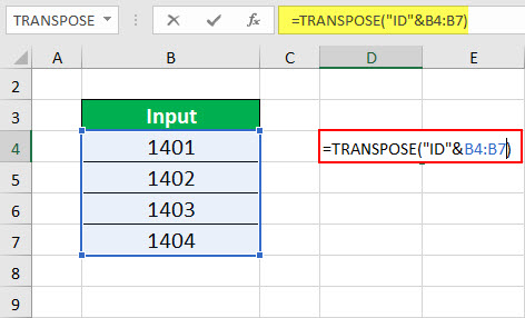 TRANSPOSE Function Example 3-2