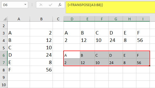 Excel transpose function example 1-3