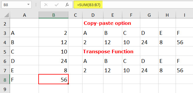 excel transpose function example 1-6