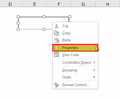 Right-click on the combo box and select properties