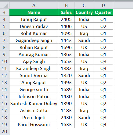 DATA FILTERS in Excel Example 1