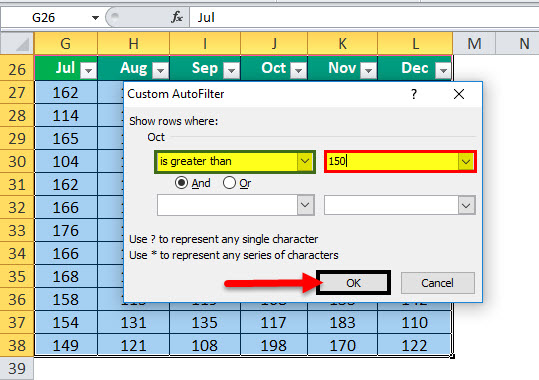 DATA FILTERS in Excel Example 3-2
