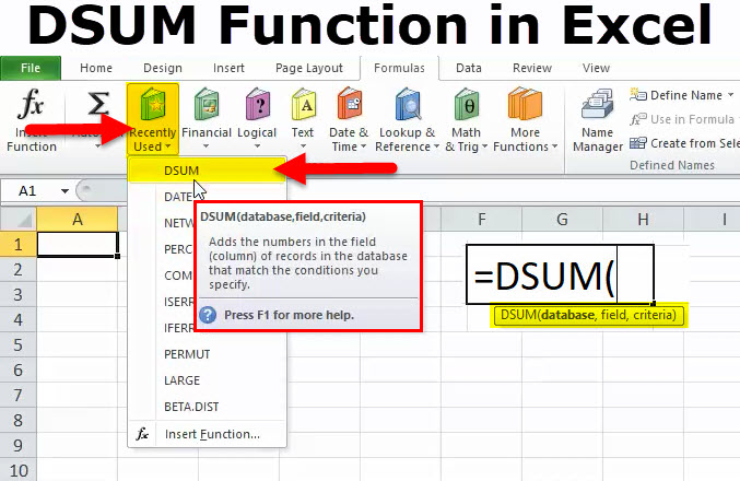 DSUM Function in Excel