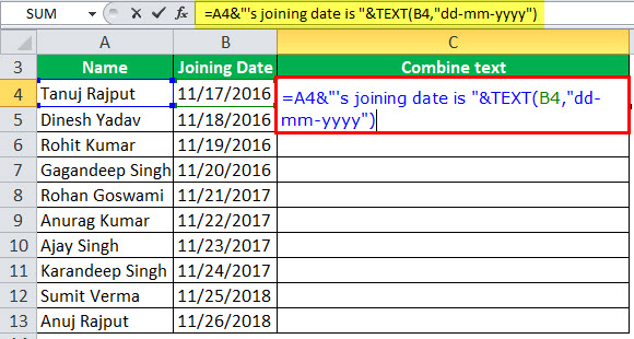 Date to Text in Excel Example 1