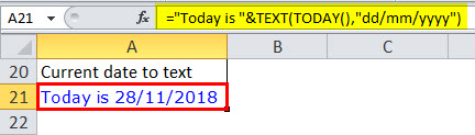 Date to Text in Excel Example 2-1