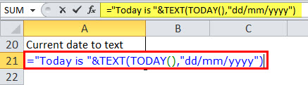 Date to Text in Excel Example 2