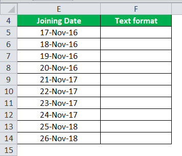 Date to Text in Excel Example 3