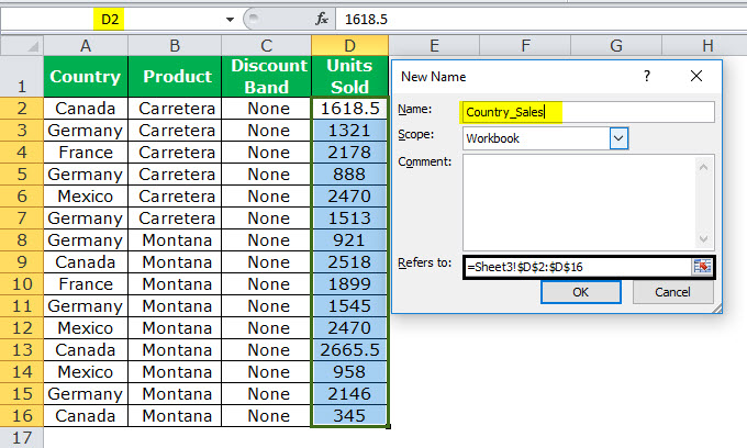 Dynamic Range in Excel Example 1-4